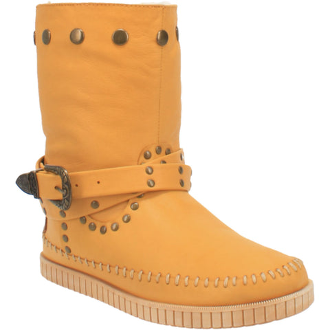 Dingo Womens Yellow Malibu Harness Moc Ankle Boots Leather