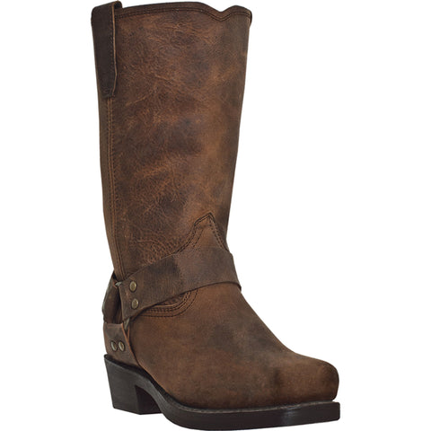 Dingo Mens Dark Brown Leather Dean 11in Harness Cowboy Boots
