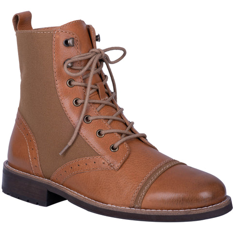Dingo Mens Camel Andy 6in Cap Toe Ankle Boots Leather