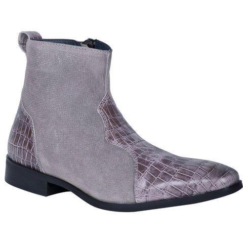 Dingo Mens Dunn Ankle Boots Leather Grey