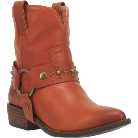 Dingo Womens Rust Silverada Harness Ankle Boots Leather
