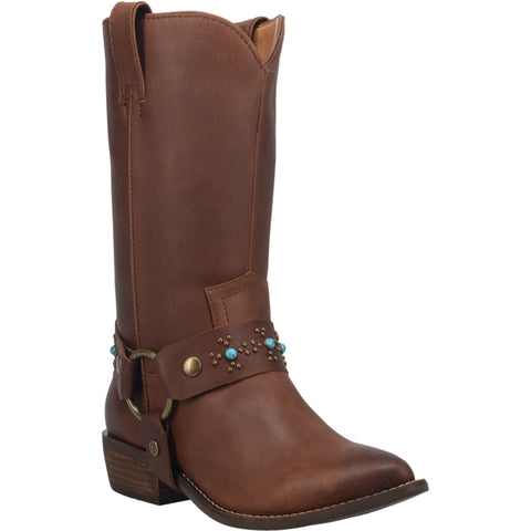 Dingo Womens Brown Appaloosa Harness Cowboy Boots Leather