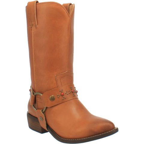 Dingo Womens Cognac Appaloosa Harness Cowboy Boots Leather