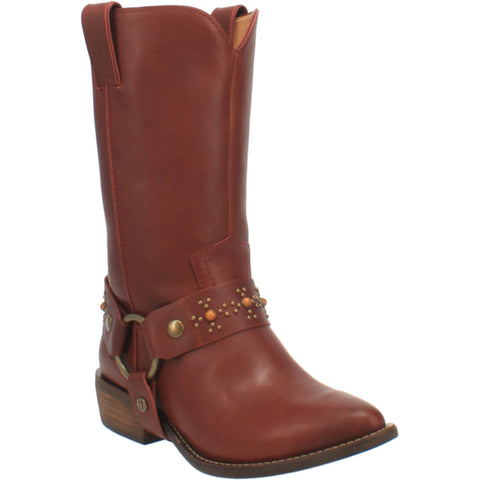 Dingo Womens Wine Appaloosa Harness Cowboy Boots Leather