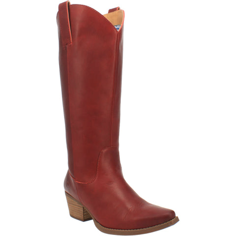 Dingo Womens Red Bonanza 14in Cowboy Boots Leather
