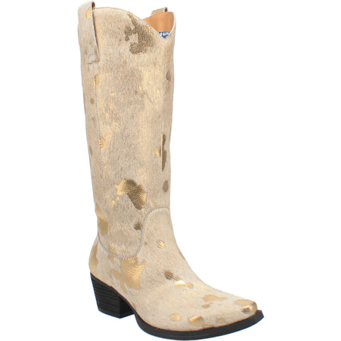 Dingo Womens Gold Giddy Up 14in Shimmer Cowboy Boots Leather