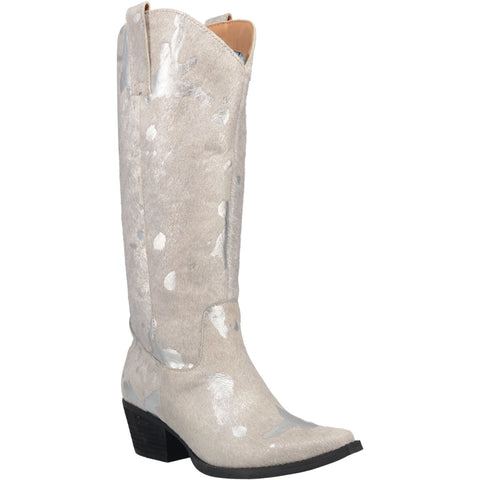 Dingo Womens Silver Giddy Up 14in Shimmer Cowboy Boots Leather