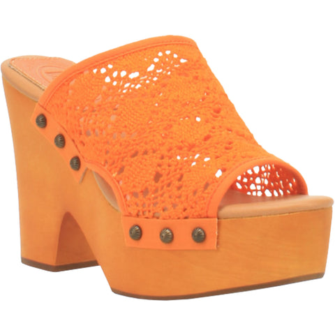 Dingo Womens Crafty Slide Sandals Textile Orange