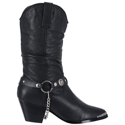 Dingo Womens Black Olivia 10in Cowboy Boots Leather