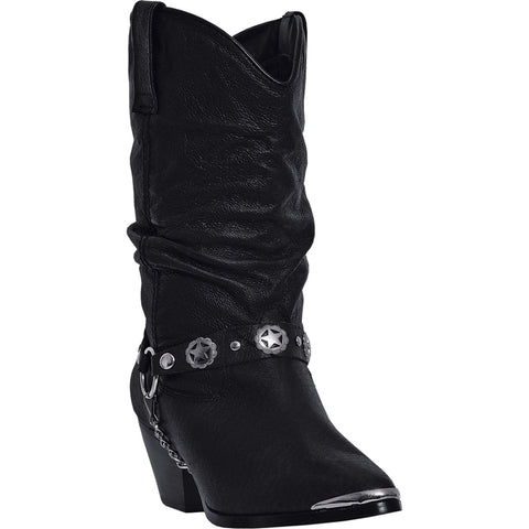 Dingo Womens Black Olivia Leather Cowboy Boots 10in Shaft