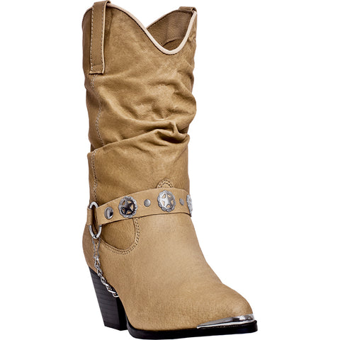 Dingo Womens Tan Olivia Leather Cowboy Boots 10in Shaft