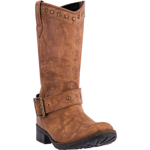 Dingo Womens Tan Tulula Stud Leather Cowboy Boots 10in