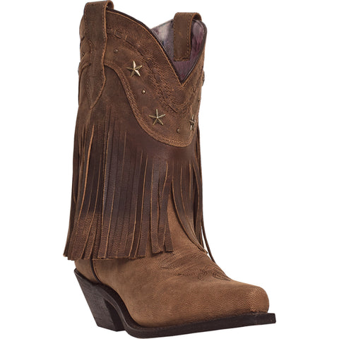 Dingo Womens Brown Distressed Goat Leather Hang Low 9in Fringe Cowboy Boots 7 M