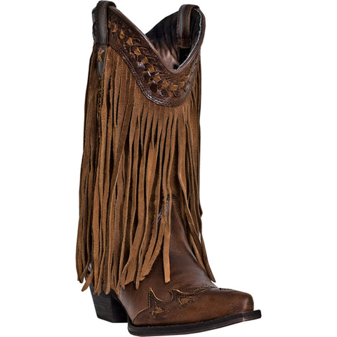 Dingo Womens Russett Leather Heart Throb 12in Snip Toe Fringe Cowboy Boots