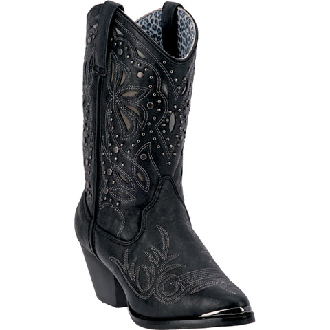 Dingo Womens Black Annabelle Faux Leather Cowboy Boots 10in Dancer