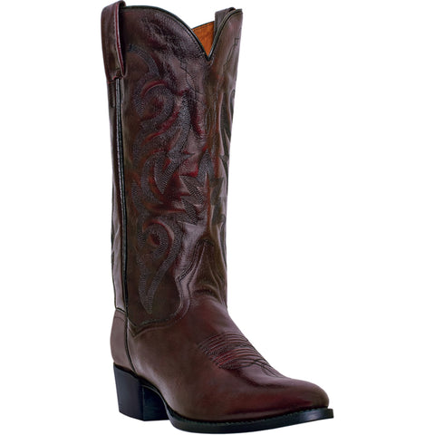 Dan Post Mens Cherry Leather Milwaukee R Toe 13in Cowboy Boots