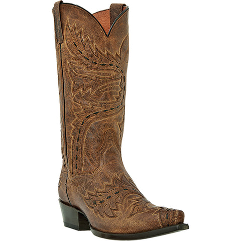 Dan Post Mens Tan Mad Cat Leather Sidewinder Cowboy Boots