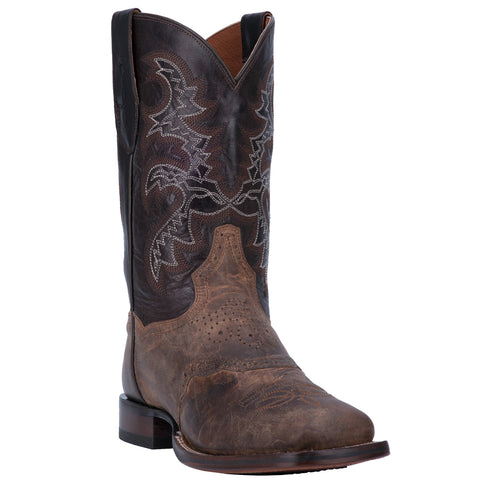 Dan Post Mens Franklin Cowboy Boots Leather Sand/Dark Chocolate