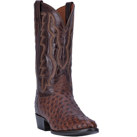 Dan Post Mens Brass Cowboy Boots Ostrich Skin R Toe