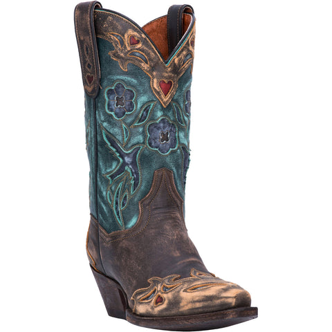 Dan Post Womens Vintage Bluebird Cowboy Boots Leather Chocolate/Teal