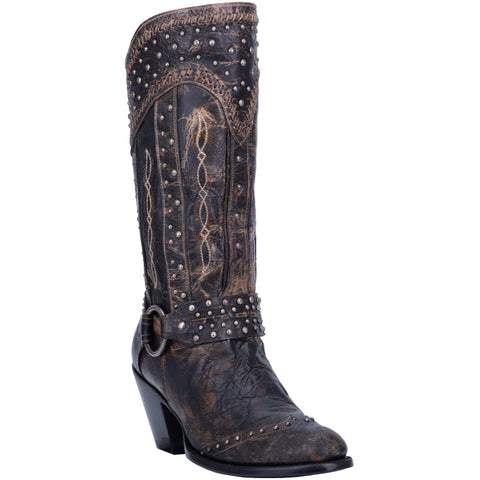 e10dd50b499 Dan Post Womens Black Fashion Boots Leather Cowboy Boots Round Toe