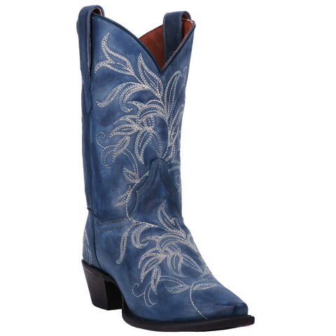 Dan Post Womens Blue Cowboy Boots Leather Snip Toe