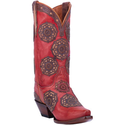 Dan Post Womens Circus Flower Cowboy Boots Leather Red