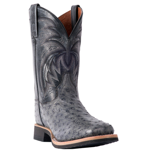 Dan Post Mens Grey Cowboy Boots Ostrich Skin Broad Square Toe