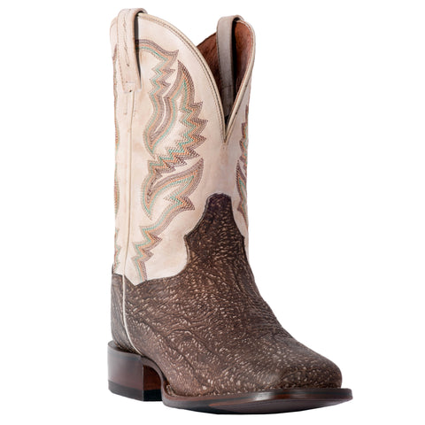 Dan Post Mens Chocolate/Bone Cowboy Boots Leather Broad Square Toe