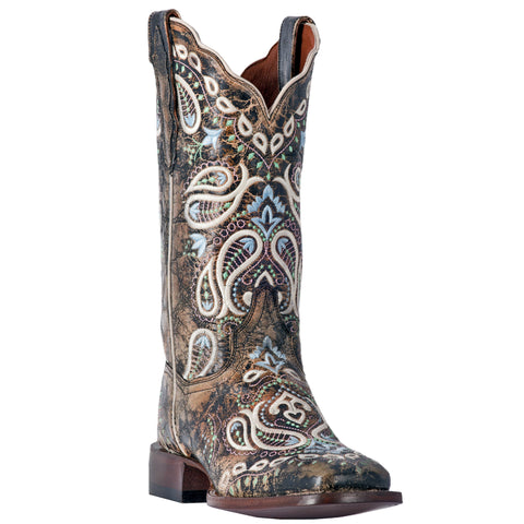 Dan Post Womens Chocolate Cowboy Boots Leather Broad Square Toe