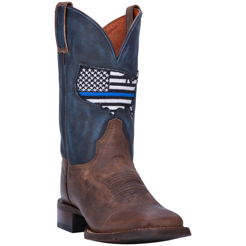 Dan Post Womens Thin Blue Line Cowboy Boots Leather Sand/Blue