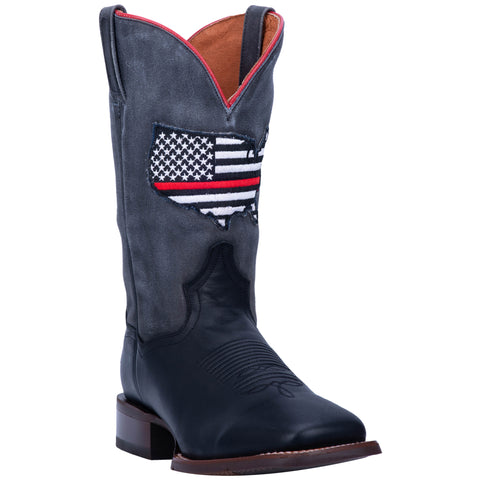 Dan Post Mens Thin Red Line Cowboy Boots Leather Black/Grey