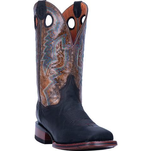Dan Post Mens Black/Brown Cowboy Boots Leather Square Toe