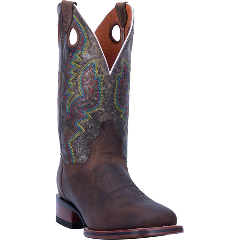 Dan Post Mens Brown/Multi Cowboy Boots Leather Square Toe