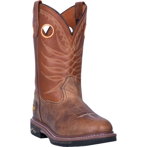 Dan Post Mens Tan/Brown Work Boots Leather Cowboy Boots Round Toe
