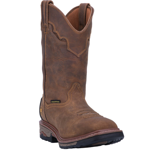 Dan Post Mens Saddle Tan Cowboy Boots Leather Broad Square Toe
