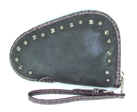 Savana Black Faux Leather Ladies Black Clutch Studded