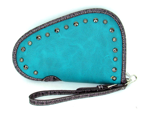 Savana Turquoise Faux Leather Ladies Turquoise Clutch Studded