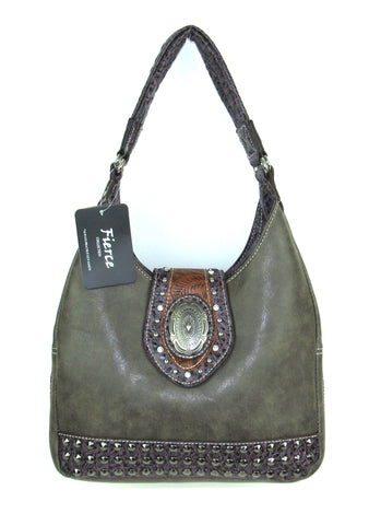 Savana Brown Faux Leather Ladies Brown Purse Handbag Stud Hobo