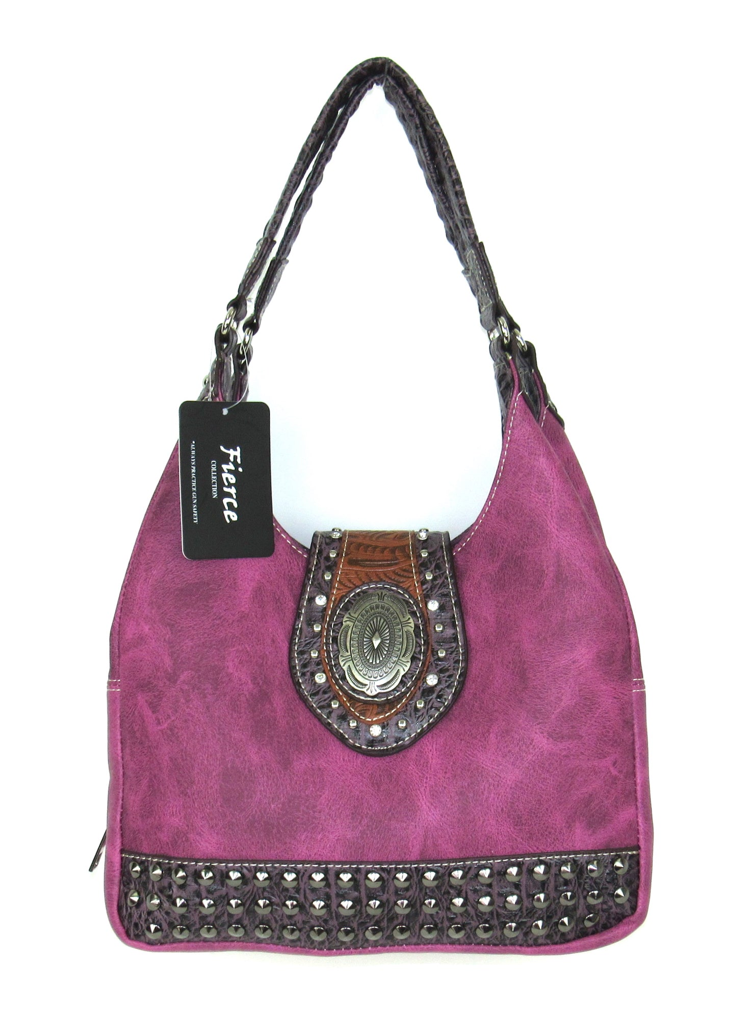 a7f96825ee3a Savana Hot Pink Faux Leather Ladies Hot Pink Purse Handbag Stud Hobo ...