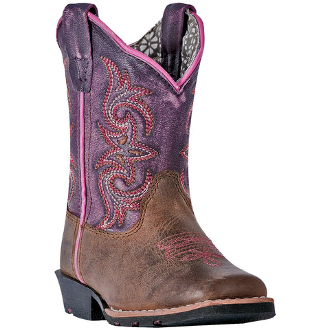Dan Post Infant Girls Tryke Cowboy Boots Leather Sand/Purple