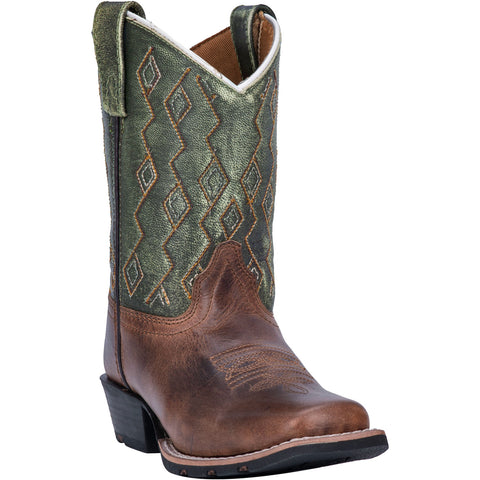 Dan Post Kids Boys Teddy Cowboy Boots Leather Rust/Green