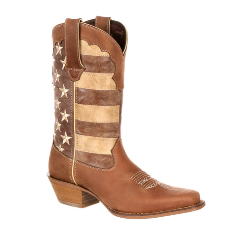 Durango Womens Brown Leather Crush Union Flag Fashion Boots