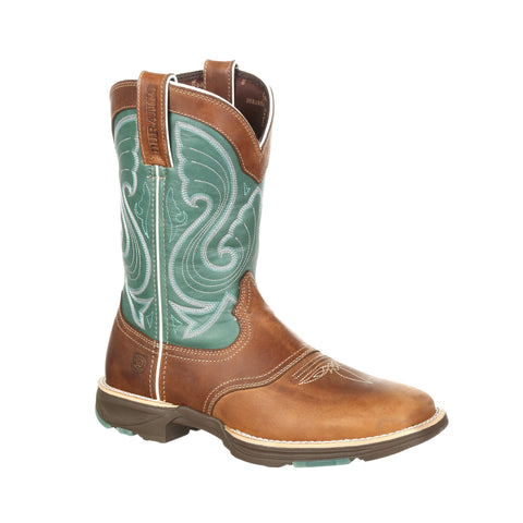 Durango Womens Emerald/Tan Leather Ultralite Saddle Cowboy Boots