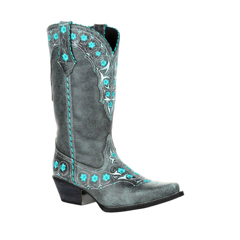 Durango Womens Blue Slate Leather Crush Floral Cowboy Boots