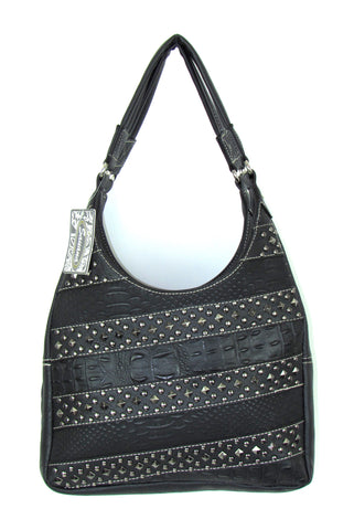 Savana Black Faux Leather Ladies Black Purse Croco Studded