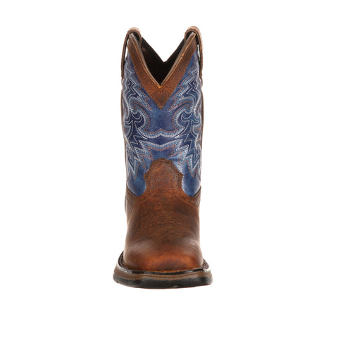 Lil' Durango Youth Boys Blue Leather Western Stitch Cowboy Boots