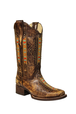 Corral Ladies Inlay Cognac Cowhide Leather Cowgirl Boots