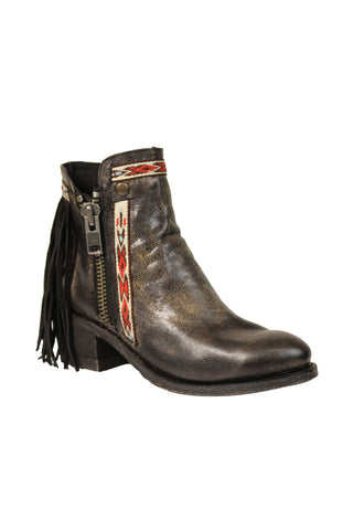 Corral Ladies Fringe Black Cowhide Leather Ankle Boots