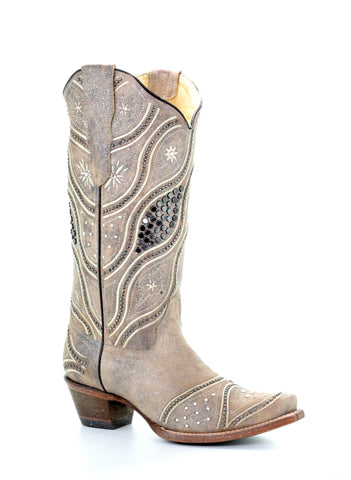 99076880431b Corral Ladies Studs Brown Cowhide Leather Cowgirl Boots